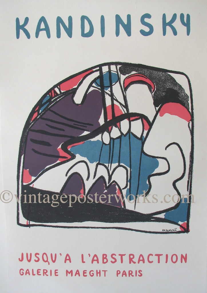 1960 Kandinsky Original Vintage Poster: Jusqu'a L'Abstraction