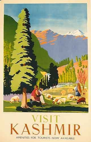 1949 Visit Kashmir Vintage India Original Travel Poster