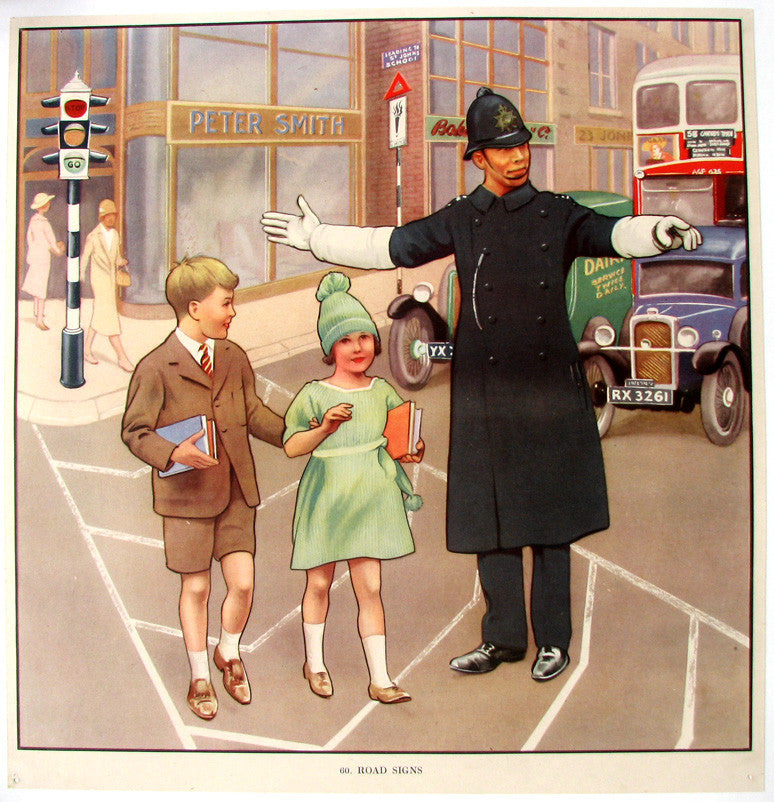 1930's British Road Signs Constable Vintage Children's Police Officer Poster