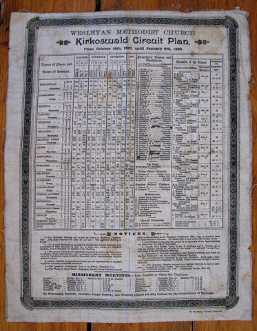 1897 Vintage Kirkoswald Wesleyan Church Parish England UK Genealogy Poster