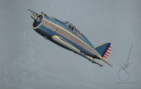 1940's Vintage WW2 Jaffee Republic YP-43 Lancer Airplane Poster Print