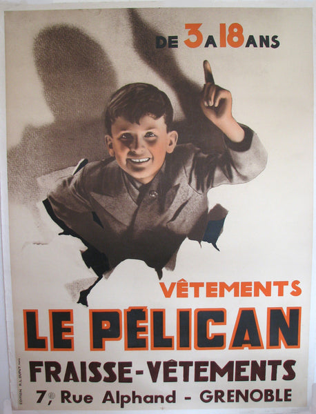 1940's Original French Deco Le Pelican Clothing Photomontage Poster