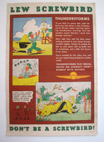 1940's Lew Screwbird Vintage WW2 Aviation Shell Oil Safety Poster