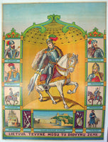 1910 Medieval Lithuanian History Patriotic Vintage Poster