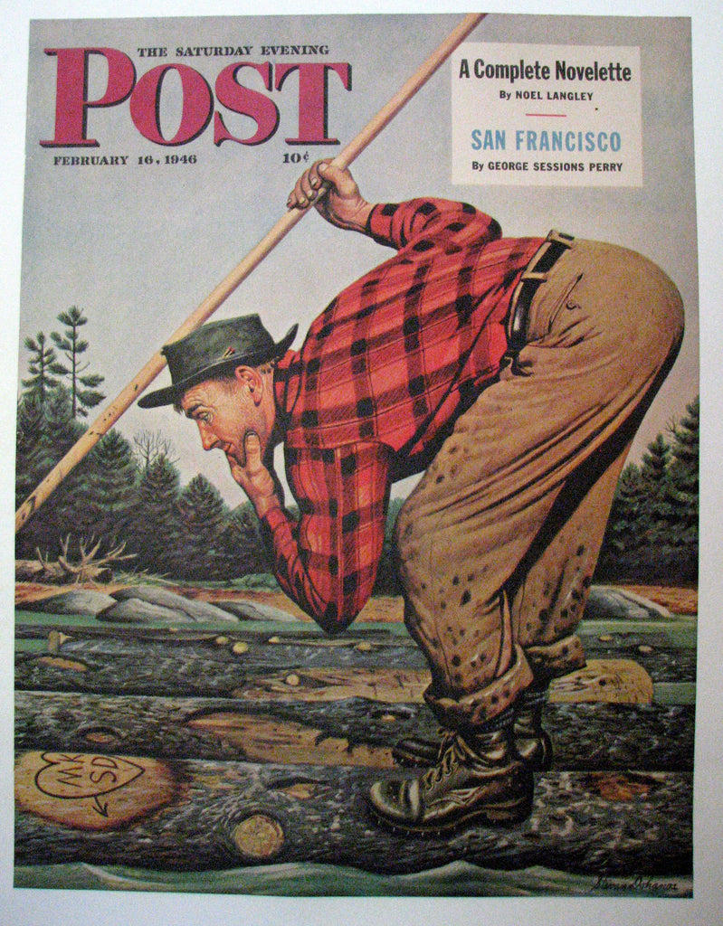 "1946 Stevan Dohanos ""Whose Initials"" Saturday Eve Post Original Vintage Antique Logging Forestry Poster"