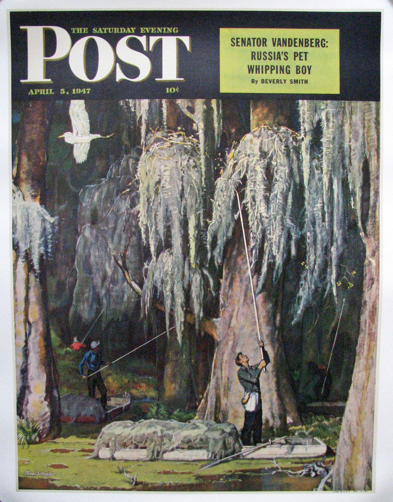 "1947 Mead Schaeffer ""Spanish Moss Pickers"" Saturday Eve Post Louisiana Poster Original Vintage"