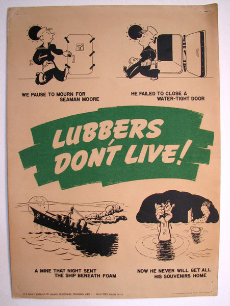 "1943 ""Lubbers Don't Live"" WWII Vintage Navy Poster"