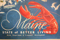 1950's Vintage Maine American Decorative Travel Poster Map