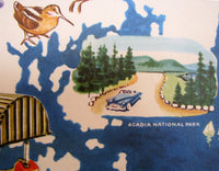 1950's Vintage Maine American Antique Travel Poster Map