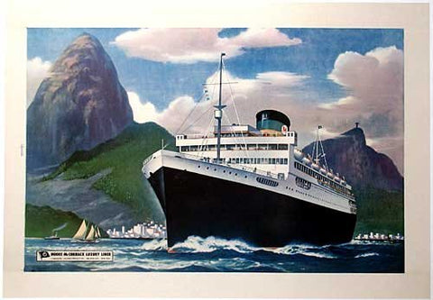 1948 Moore McCormack Ocean Liner to Rio Vintage Ship Poster