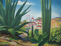 1940's Original Vintage Art Deco Cactus Mexico Travel Poster