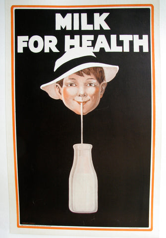 1927 Antique Bernice B. Ferris Vintage Milk for Health Dairy Poster Sign