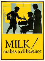 1920's 'Milk Makes a Difference' Vintage Dairy Advertising Poster