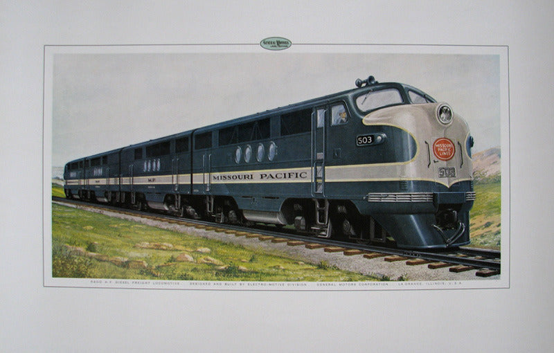 1940's GM Vintage Missouri Pacific Railroad Train Poster Print