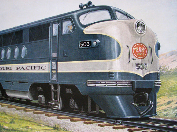 Electro Motive Diesel >> 1940 GM Ben Dedek Vintage Missouri Pacific Railroad Train Poster Print – Vintage Poster Works ...