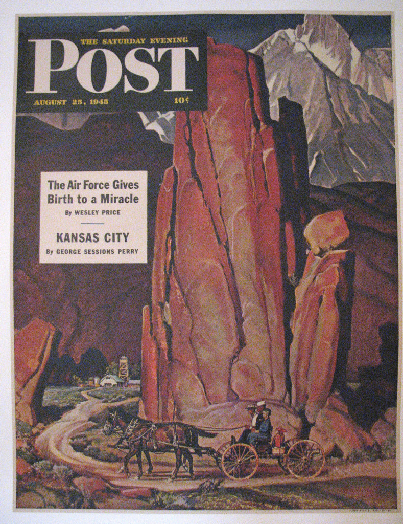 "1945 Mead Schaeffer WWII ""Sailor Comes Home To Mountain Ranch"" Saturday Eve Post Poster Original Vintage"