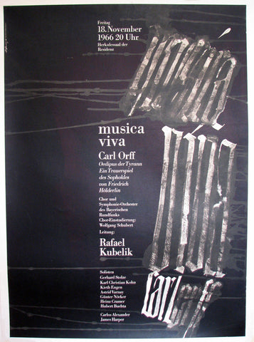 1966 Musica Viva Carl Orff Original Vintage Classical Music Poster