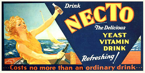 1920's Necto Soft Drink Speedboat Advertising Poster Sign