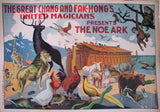 1910 Original Chang & Fak Hong Vintage Magic Poster Noah's Ark