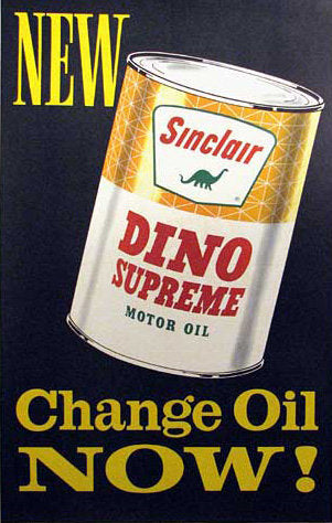 1950's Vintage Sinclair Dino Motor Oil Advertising Poster