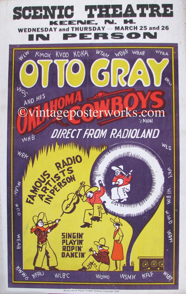 1929 Otto Gray & his Oklahoma Cowboys Vintage Radio Poster