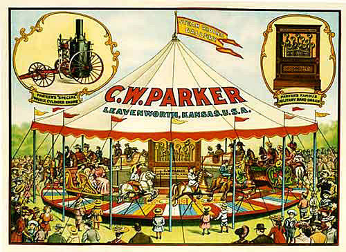 1900 CW Parker Vintage Carousel Advertising Poster