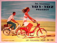 1960's Vintage French Peugeot 101-102 Scooter Moped Motorbike Poster