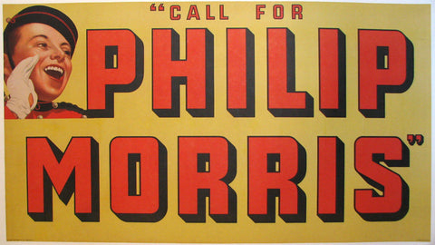 "1930's Phillip Morris ""Johnny"" Vintage Cigarette Poster Sign"