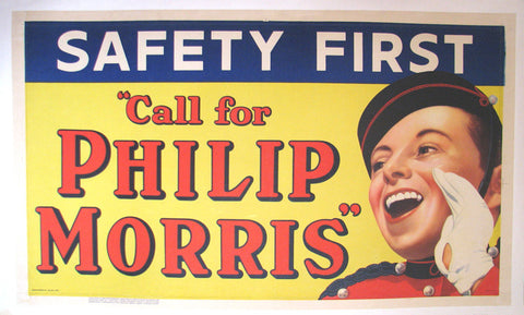 "1930's Phillip Morris ""Safety First"" Vintage Tobacco Poster Sign"