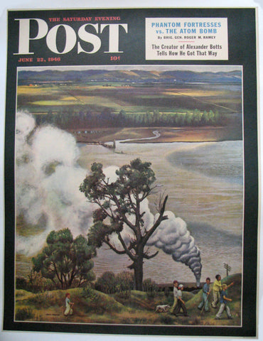 "1946 John Falter ""Steam Engine Along the Missouri"" Saturday Eve Post Poster Original Vintage"