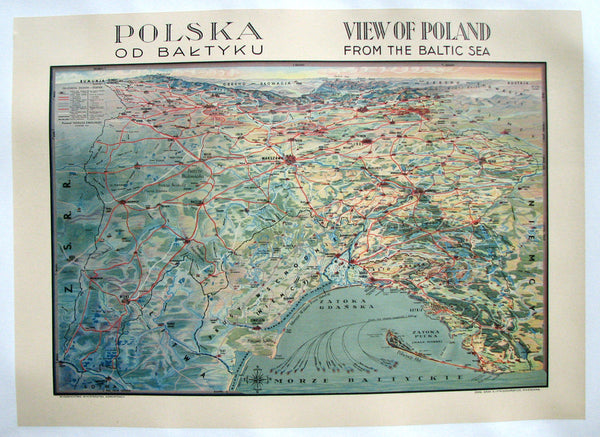 1934 Polish Poland Map Vintage Decorative Travel Poster