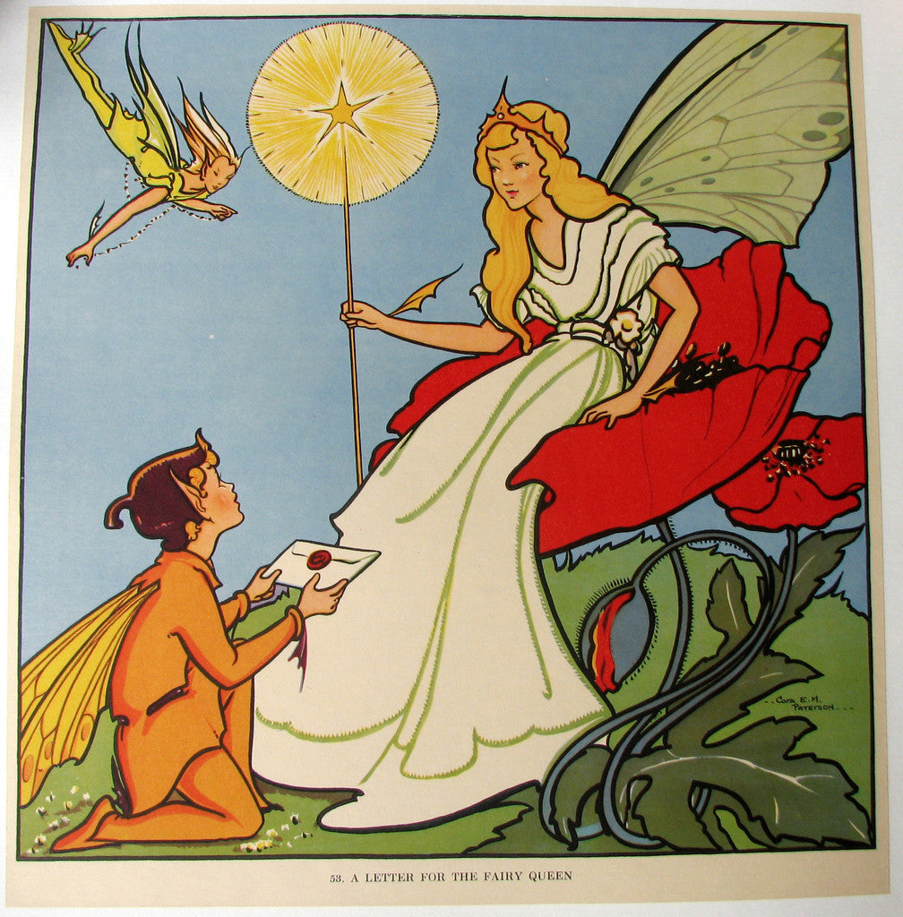 1930's British Fairy Queen Children's Vintage Poster by Cora Paterson