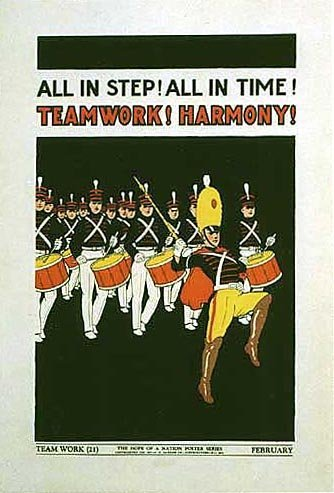 1937 Hope of a Nation Children's Marching Band Vintage Poster