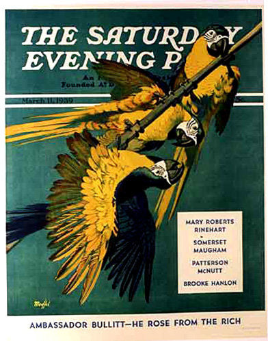 1939 Saturday Evening Post Poster Vintage Birds Parrot by Moeffel
