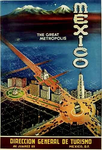 1940's Mexico City The Great Metropolis Vintage Travel Poster