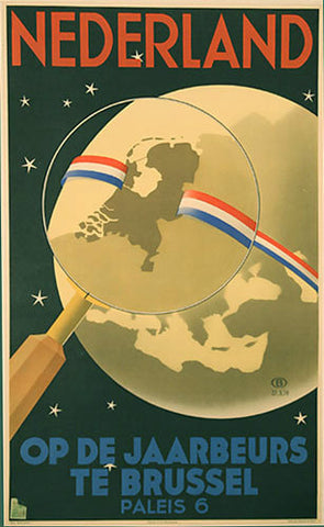 1939 Netherlands Brussels Vintage Belgium Map Travel Poster