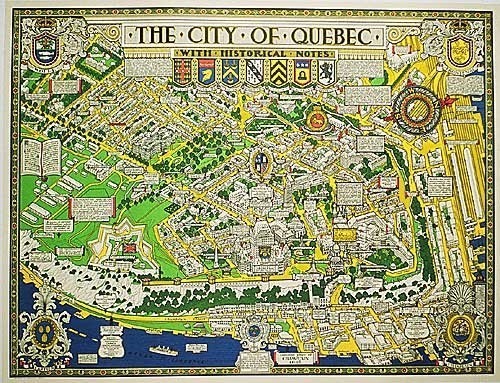 1932 Quebec City Canada Vintage Travel Poster Map