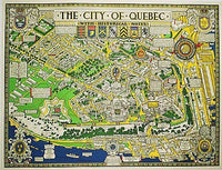 1932 Quebec City Canada Vintage Travel Poster Decorative Antique Map