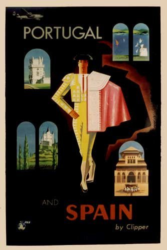 1940's Jean Carlu Vintage Pan Am Clipper Spain Travel Poster