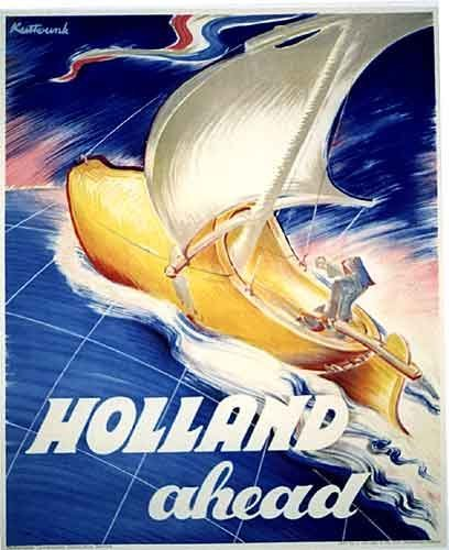 1930's 'Holland Ahead' Vintage Sailing Sailboat Travel Poster