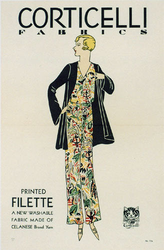 1920's Corticelli Silk Fabric Vintage Art Deco Fashion Poster