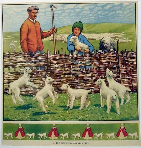 1930's British Sheep Dog Herding Vintage Children's Poster