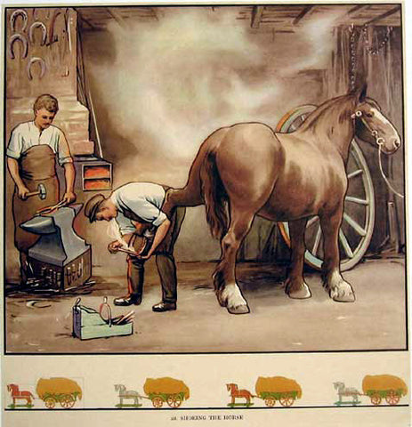 1930's Blacksmith Clydesdale Horse Original Vintage Antique Poster