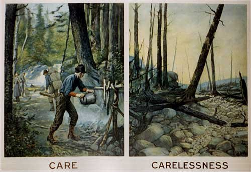 1915 Carelessness Fire Safety Vintage Ecology Poster