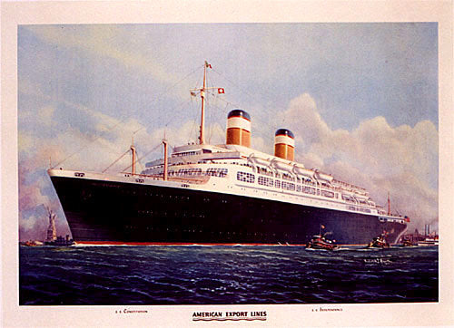 1950's SS Constitution Ocean Liner Vintage American Travel Poster