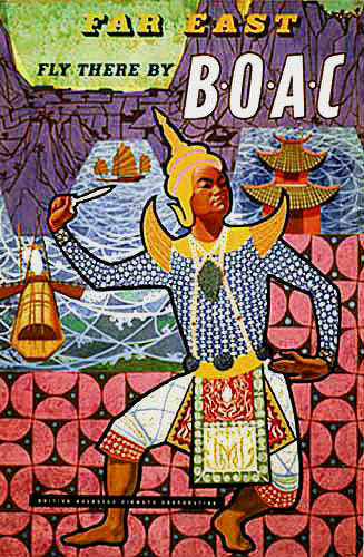 1959 BOAC Airlines Far East Vintage Asia Travel Poster