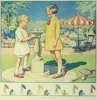 1930's British Time Flies & Sundial Vintage Children's Poster