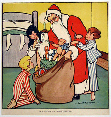 1930's British Santa Claus Children's Christmas Vintage Poster