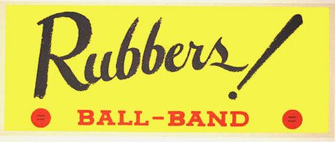 1950's Ball Band Rubbers Red Dot Shoes Vintage Poster Sign