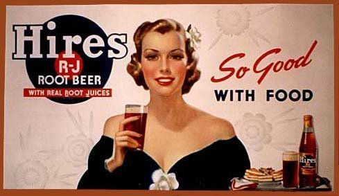 1940's Large Horizontal Hires Root Beer Pin Up Girl WWII era Poster